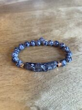 Bracelet Fashion Costume Jewelry Blue Gray Marble Appearance Beaded