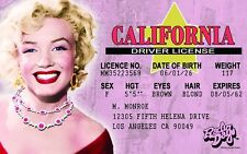 Marilyn Monroe novelty collectors card Drivers License