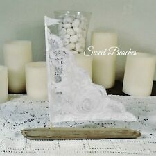 1 White Lace Driftwood Sailboat Seaside Nautical  Decor Wedding Center Peice