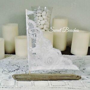 1 White Lace Driftwood Sailboat Seaside Nautical  Decor Wedding Center Peice