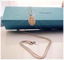 Tiffany & Co. Silver Return To Tiffany Oval Dog Tag 34 Inch Long Bead Ball Chain