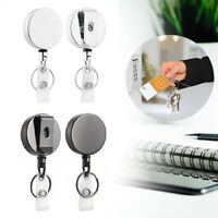2PCS Name Card Clip ID Heavy Duty Retractable Badge- Holder Reel Metal Keychain
