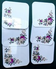6 Untersetzer Tassen/Glasuntersetzer Rosendesign eckig PVC 10 x 10 cm NEU