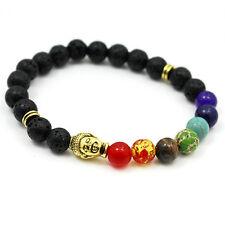 7-Chakra Bracelet Healing Reiki Balance Lava Stone Yoga Buddha Prayer Meditation
