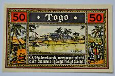 DEUTSCHE KOLONIEN Notgeld 50 Pfennig TOGO 1922 *ANECHO* GERMANY (5327)