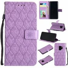 Purple 3D Rattan Premium PU Leather case strap for Samsung S9 S8 LG Huawei Sony