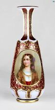Antique 1800s Antique Czech Bohemian Overlay Mantel Glass Bottle Lady Painting