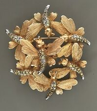 Rare Vintage Signed Boucher Butterflies Brooch In Gold Tone MetAl With Crystals
