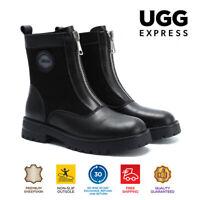 Ugg Women Mini Boots Lina HI Lift Platform Front Zipper Leather Boots