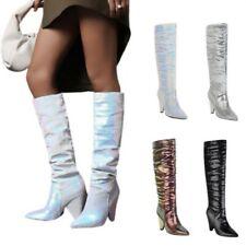 Женские плиссированные узор шнурок на заостренным носком конус каблук сапоги до колена ночной клуб D