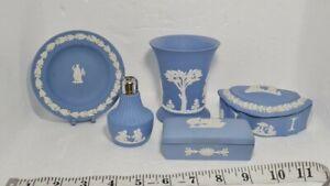 Lovely Wedgwood Jasper Ware Blue Items X5