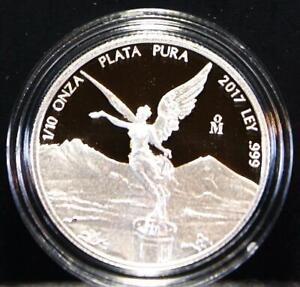 2017 1/10th oz. .999 Proof Silver Mexico Libertad Comes In Original Mint Capsule
