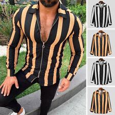 Mens Long Sleeve Zipper Shirt Slim Fit Fashion Striped V Neck Blouse T shirt Top