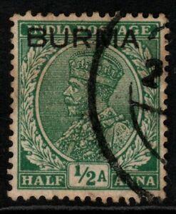 BURMA SG2 1937 ½a GREEN USED