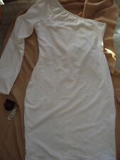 WOMENS ONE SHOULDER L/S WHITE ONE OF A KIND DRESS SPANDEX