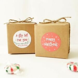 10x Christmas 7cm Cookies Gift Boxes XMAS Box Sweets Treats Lolly Chocolate