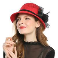 Elegant Ladies Wool Winter Hats Felt Wedding Church Fedora Bowler Caps Party