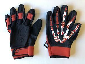 Spyder Moto Gloves MENS black and red bloody skeleton hands Halloween US size M
