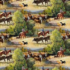 Fabric Western Cowboys Cattle Drive on Cotton 1 Yard