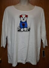 Womens White Bear Sequined Karen Scott 3/4 Sleeve Shirt Size 1X NWT NEW