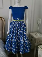 RARE Lindy Bop Carla Blue Super Cute Llama Dress New with tags size 8 1950s BNWT