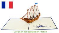 Bateau battle-carte pop up 3D voeux souvenirs, voyage