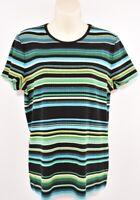 LAUREN RALPH LAUREN Women's Striped Ribbed Top, Multicoloured, size XL