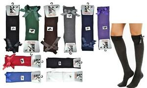 Girls Knee High School & Casual Socks With Bow Rich Cotton in 10 Colours Socks