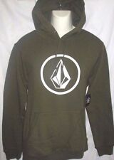 MENS VOLCOM MILITARY GREEN HOODIE PULLOVER SWEATSHIRT SIZE L