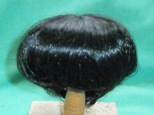 """Black Kanekalon doll wig, 12.5"""" to 13.5"""", short haircut, neck length"""