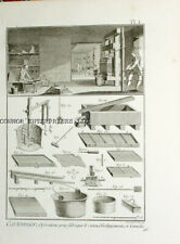DIDEROT 2 Engravings,1751, SHOWING EQUIPMENT SHOP TOOLS FOR CARDBOARD MANUF 1003