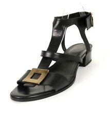 ROGER VIVIER Black Leather Logo Buckle Strappy Heels Sandals 40.5