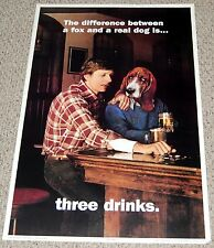 Difference Between Fox & A Dog is 3 Drinks Beer Bar Poster 1983 C/C Sales 90344