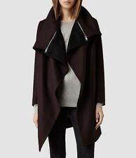 Immaculate All Saints Jax Coat Dress Jacket UK 10 38 Maroon Burgandy Winter £300