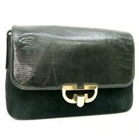 GUCCI Vintage Lizard Leather Suede Clutch Bag Purse Black