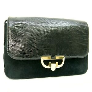GUCCI Vintage Lizard Leather Suede Clutch Bag Purse Black Made in Italy