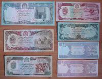Afghanistan PAPER MONEY Set of 7 Pieces UNC