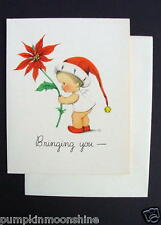 Unused 1946 Eva Harta Xmas Greeting Card Cute Angel with a Poinsettia. Ars Sacra