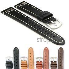 StrapsCo Thick Vintage Leather Mens Pilot Watch Band Strap with Silver Rivets