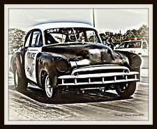 1949 Chevy 'Police Brutality' Dragster Hot Rod Chevrolet 2-door coupe 8x10 PRINT