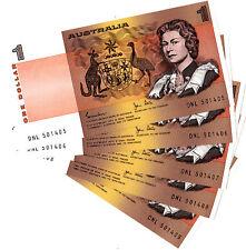 5 Consecutive Australian 1 Dollar Notes Uncirculated Nice