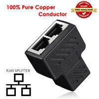 RJ45 CAT7 Cat 6 Ethernet Cable LAN Port 1 to 2 Socket Splitter Connector Adapter