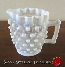 c1903 Antique Northwood Ruffled Opalescent Hobnail Jug Creamer Pitcher