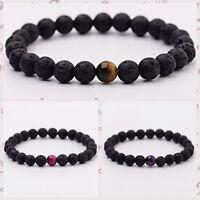 Mens Women Lava Rock Tigers Eye Mala Beads Energy Yoga Beaded Bracelets Jewelry