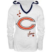 Chicago Bears - Glitter Hearts Girls Youth Soft Hooded Long Sleeve - White