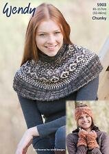 Wendy 5903 Knitting Pattern Fairisle Hat Wrist Warmers & Cowl in Evolve Chunky