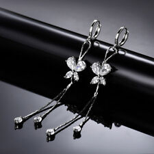 Tassel Drop Butterfly Diamond Sapphire Silver Gold Filled Women Party Earrings