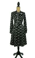 Modcloth Women's Shirt Dress S Black Floral Tie Neck Pleated Long Sleeve Pockets