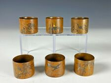 Set of 6 Antique Japanese Bronze Mixed Metal Napkin Rings- Signed