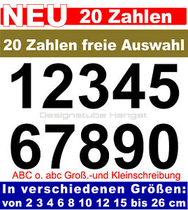 20 Zahlen frei wählbar selbstklebend 2-26 cm Klebezahl Aufkleber Hausnummer